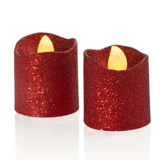 LED Kubbelys Red Glitter, 2-pk