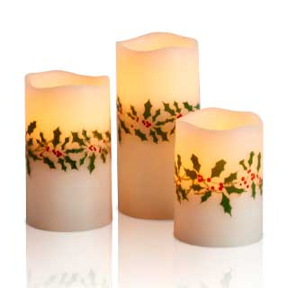 LED Kubbelys Holly, 3-pk