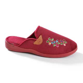 ISL Shoes Slippers Oda, burgunder m/dekor