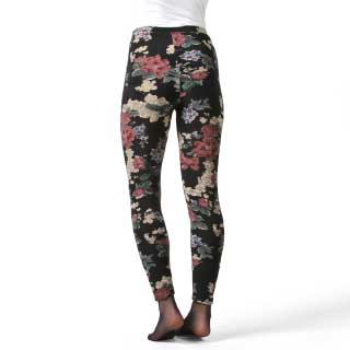 Leggings Tina, sort m/blomster